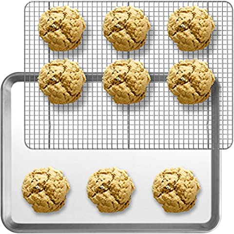 Baking Half Sheet Pan and Rack Set - Commercial Grade Aluminum Half Size 18