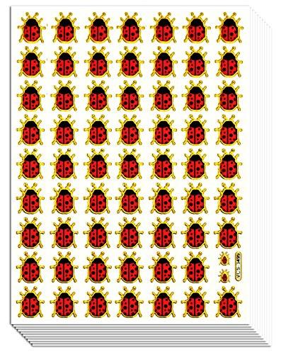 LADYBUG01 - 10 Sheets Ladybug or Ladybird Gold Edge Sticker Decorative Scrapbook, Reflective Stickers for Kids - Size 4 X 5.25 Inch./sheet by Sticker108