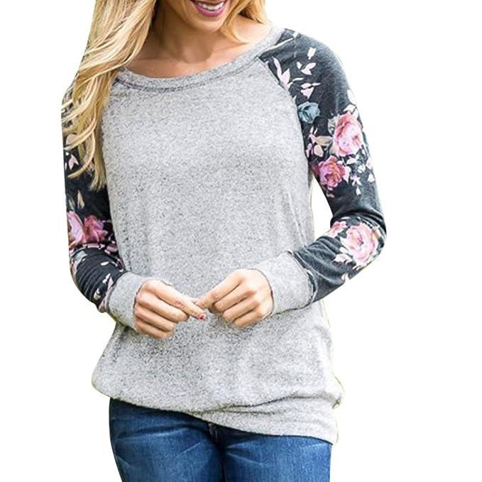 e7c03b1584802d Damen Pullover YunYoud Frau Blumenmuster Tops Beiläufig Bluse Nähen  Sweatshirts O-Ausschnitt Langarmshirts Mode Baumwolle Hemd Weich T-Shirt ( Grau, ...