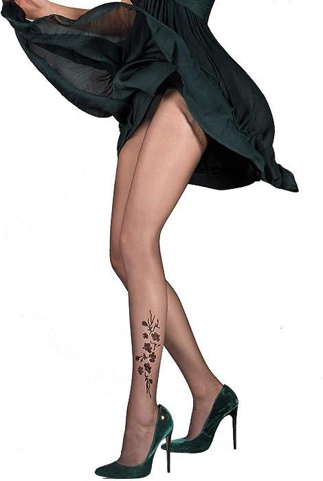 Gabriella - Collant effet Tatouage Jasmine - Femme - 20 den (NOIR 23e1414bf19