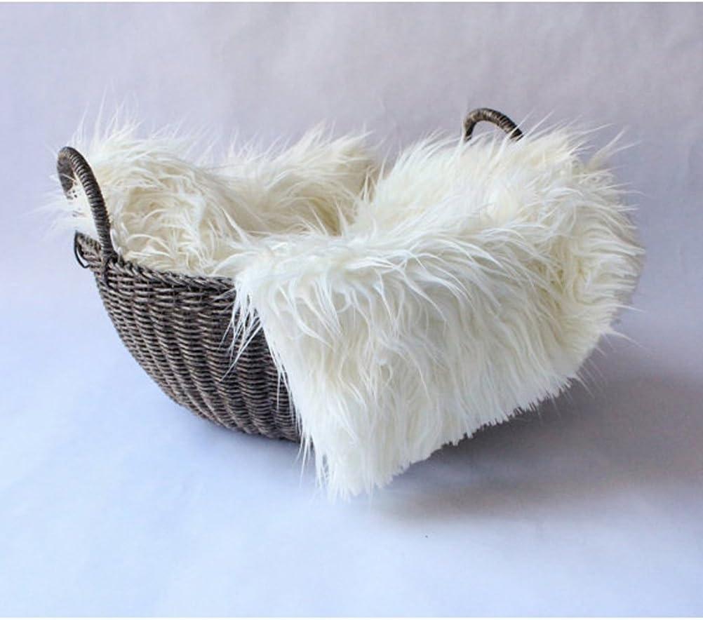 OULII Baby Photo accessoires fourrure douce couette photographique Mat bricolage bébé nouveau-né Photographie Photo Wrap-bébé accessoires faveurs (blanc)