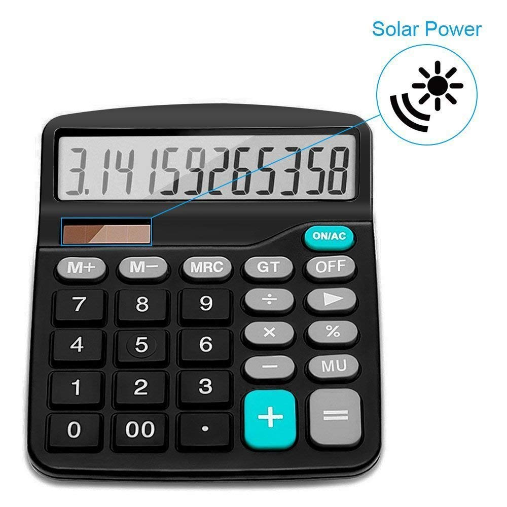 Large Calculators Desktop Calculator with 12 Digit LCD Display and Large Buttons Included 2 Batteries Calculator Black+Sliver Solar Battery Dual Power Office Basic Calculator