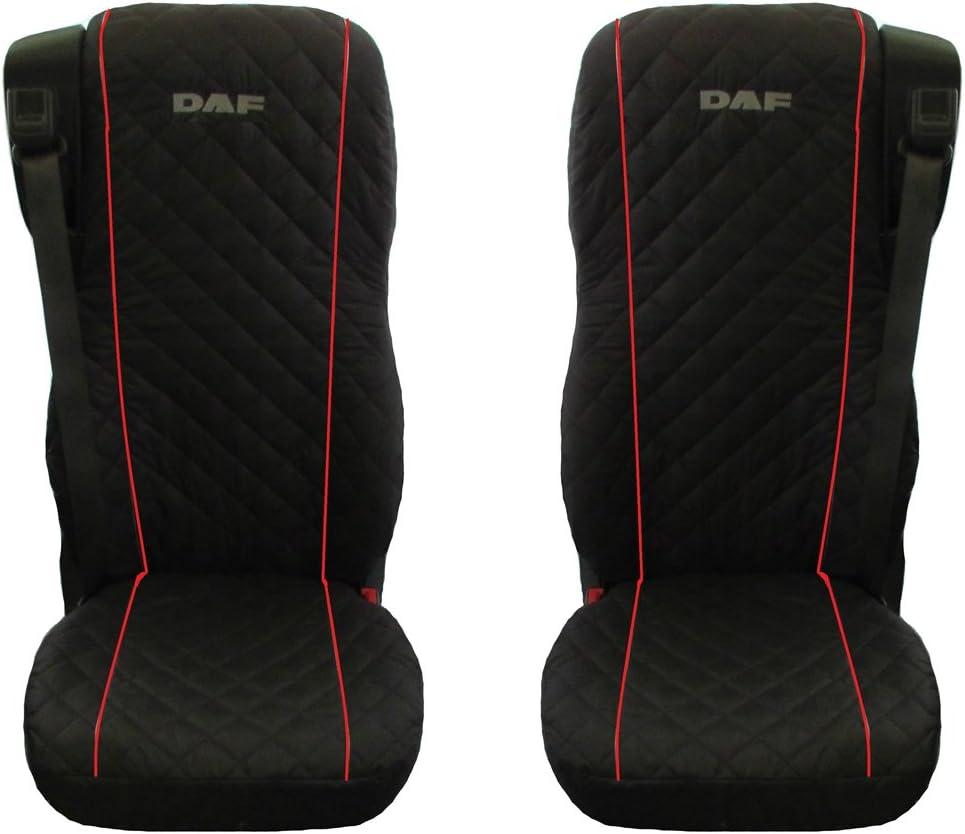 DAF 106XF Color Negro y Rojo 2 Piezas Fundas para Asientos de cami/ón