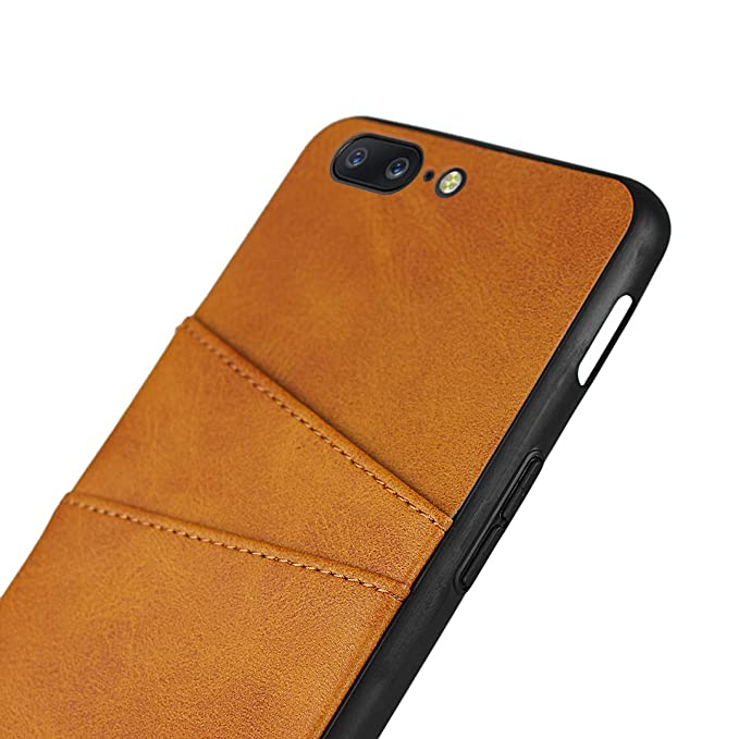 Zouzt Card Back Cover Case Compatible with OnePlus 5 ; Fashion Vagen Leather Professional Business Protection Cover with 2 Card Holder Slots Chocolate Brown