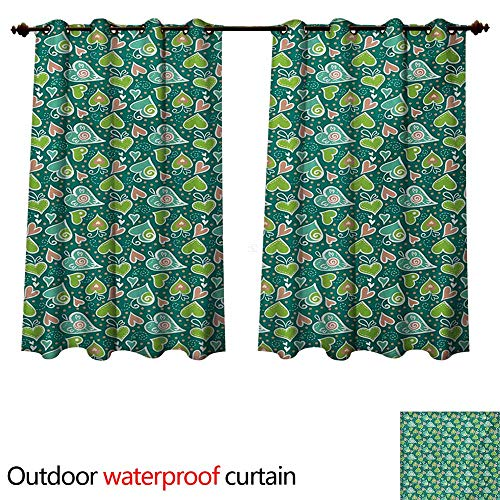 WilliamsDecor Valentines Outdoor Balcony Privacy Curtain Abstract Hearts with Scroll Inspired Childish Design and Dots W55 x L72(140cm x 183cm)