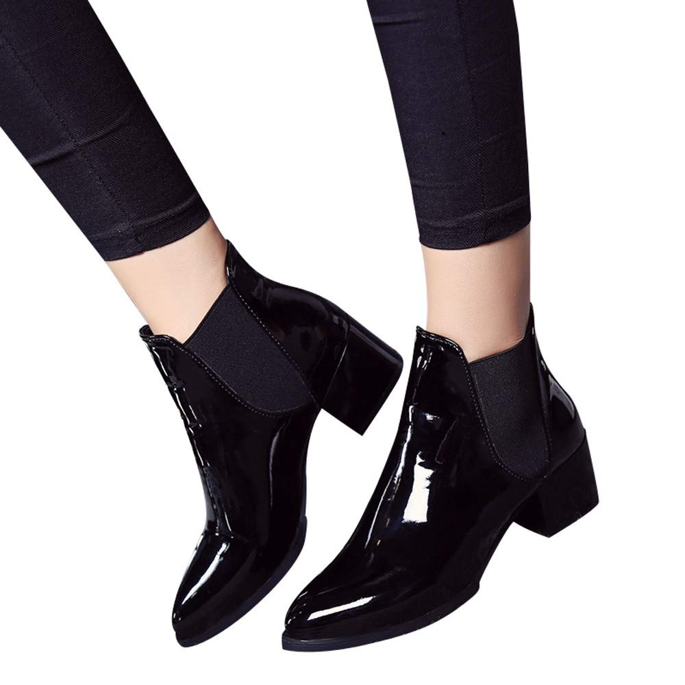 CSSD Newest Women Fashion Elasticated Patent Leather Boots Pointed Low Heel Elastic Band Ankle Boots (Black, 41)
