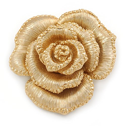 Gold Rose Brooch (Dimensional Rose Brooch In Brushed Gold Finish - 55mm Across)