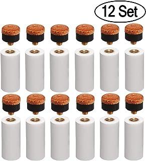 Kulannder 12mm rigide de billard Cue Conseils Laiton à visser à pointes de rechange avec billard bâton Embouts pour queues de billard (12jeux rigide Marron à bout Ensemble)
