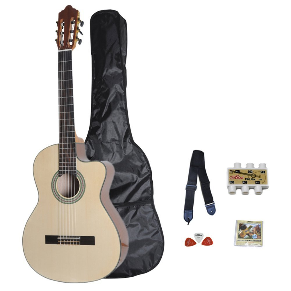 ADM JC642 39'' Full Size Classical-Electric Cutaway Guitar Package, Natural Gloss