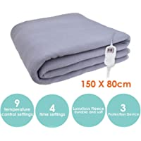 ecHome Electric Blanket 150 X 80cm Washable 9 Temperature Selections Luxurious Fleece Single Size with Timer