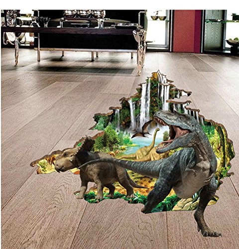 Boodecal 3D Jurassic World Dinosaurs Crack Hole Stickers Pee