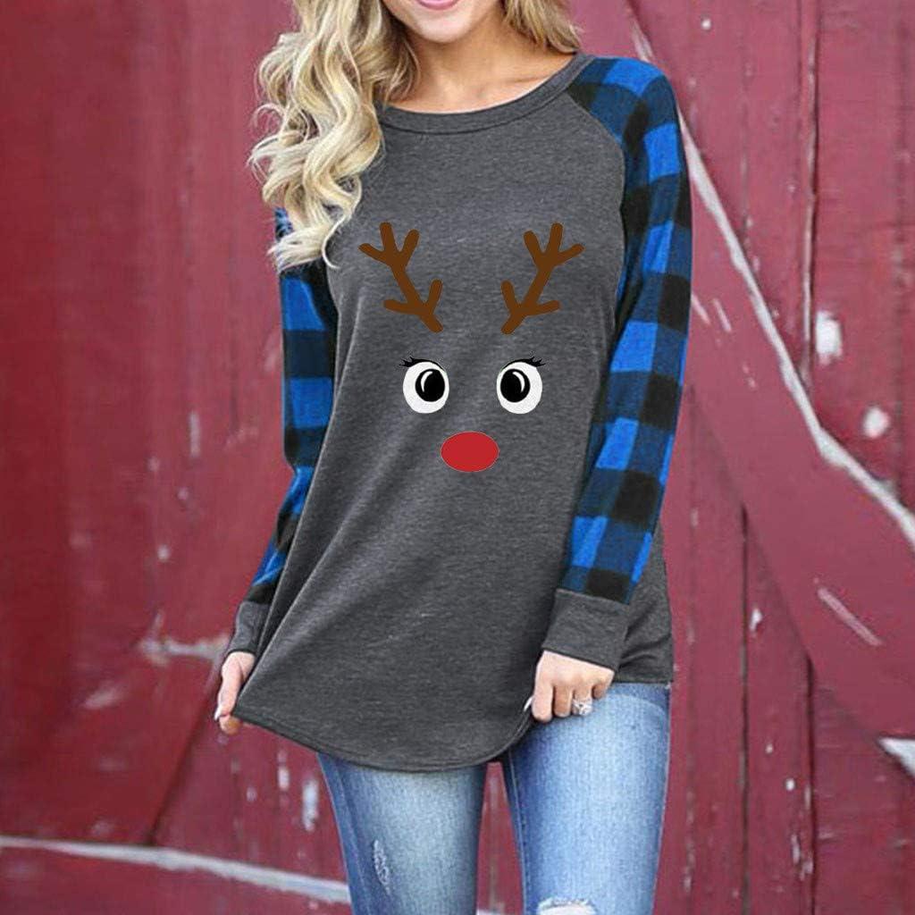 Lataw Women Shirts Merry Christmas Splice Print Deer Plaid Tee Autumn Winter Raglan Top Casual Long Sleeve T-Shirt Clothes Blouses