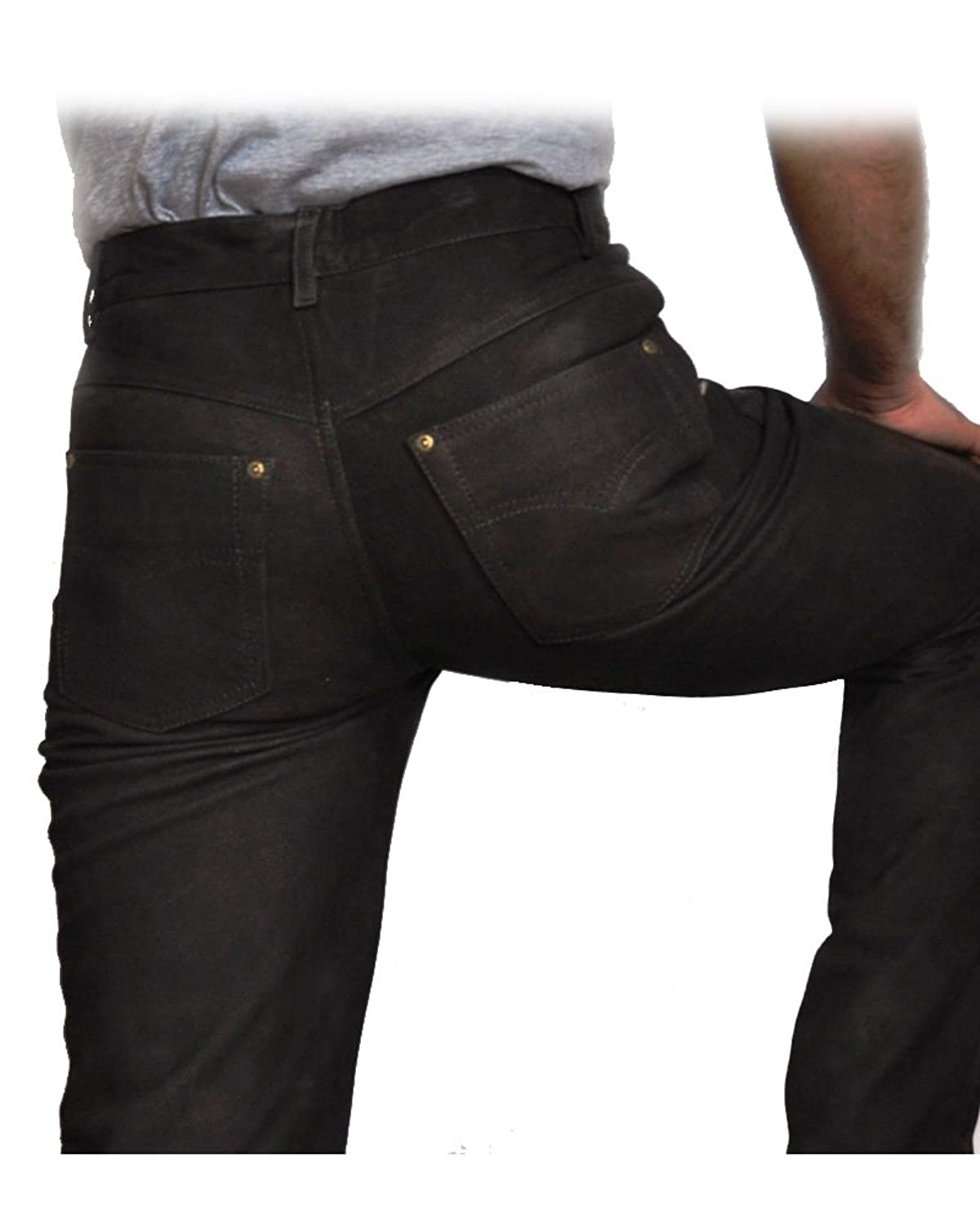 Men and Womens Five Pocket Leather Jeans