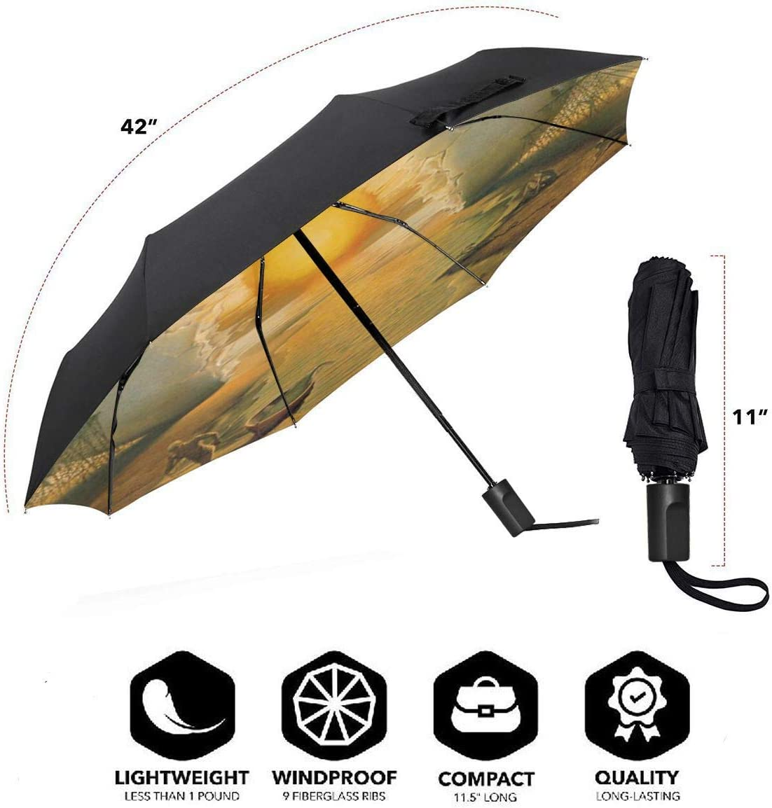 Egg Sunset MMLCGG Lightweight Portable Sun/&Rain Travel Umbrella
