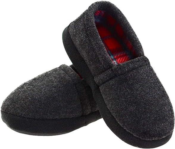 LA PLAGE Boy//Little Kid Winter Warm Cozy Camouflage Grey Comfy Plush Indoor Slip-on Slippers with Hard Sole DM-241