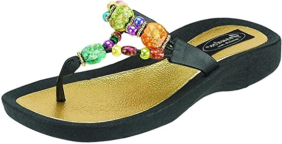 Grandco Women's 24768G Marble Deluxe Beaded Waterproof Sole Beach Thong Sandals