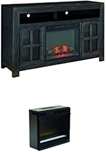 Ashley Furniture Signature Design - Gavelston Hand-Finished TV Stand with Glass Fireplace Insert - Black