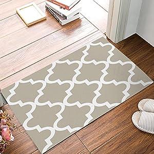 ALAGO Moroccan Tile Quatrefoil Geometric Doormats Entrance Front Door Rug Outdoors/Indoor/Bathroom/Kitchen/Bedroom/Entryway Floor Mats,Non-Slip Rubber,Low-Profile