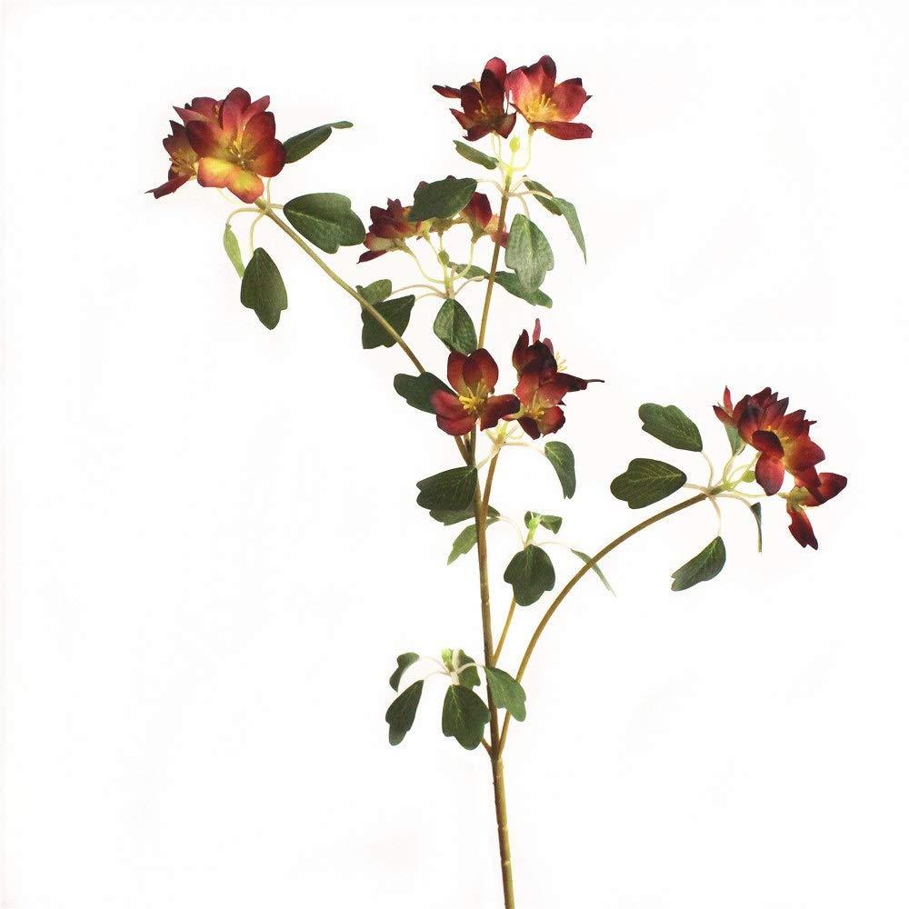 GAIGAI 造花、部屋のためのミニプラスチック偽造品シルクアロカブライダルブーケ、キッチン、ガーデン、結婚式、パーティーの装飾、5色、30個セット (Color : Wine Red) B07S186CR4 Wine Red