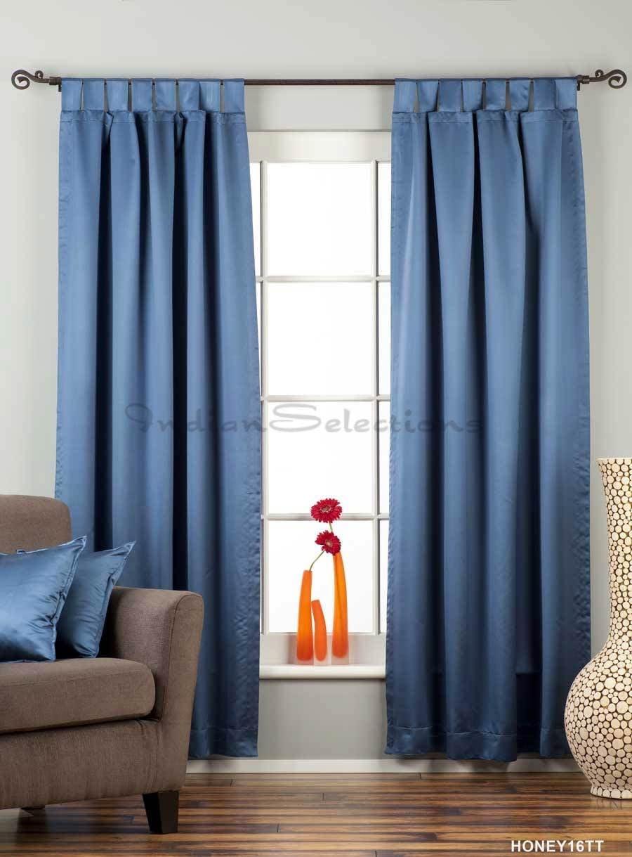 Indian Selections Blue Tab Top 90 Blackout Curtain Drape Panel – 50X84 – Piece