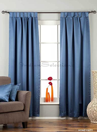 Indian Selections Blue Tab Top 90 Blackout Curtain/Drape/Panel