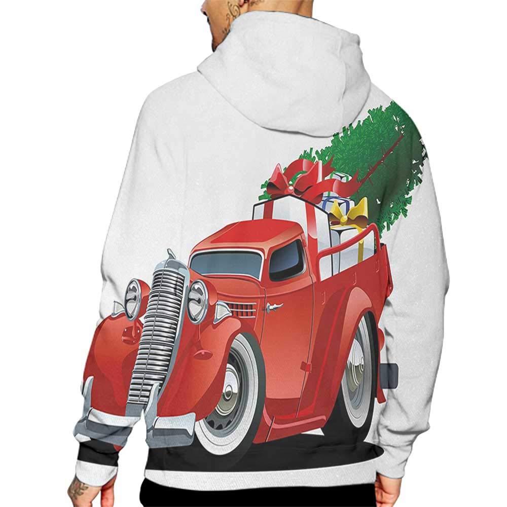 Hoodies Sweatshirt/Men 3D Print Christmas,Vintage American Truck with Large Xmas Tree and Gift Boxes Pickup Retro Vehicle,Green White Sweatshirts for Men Prime