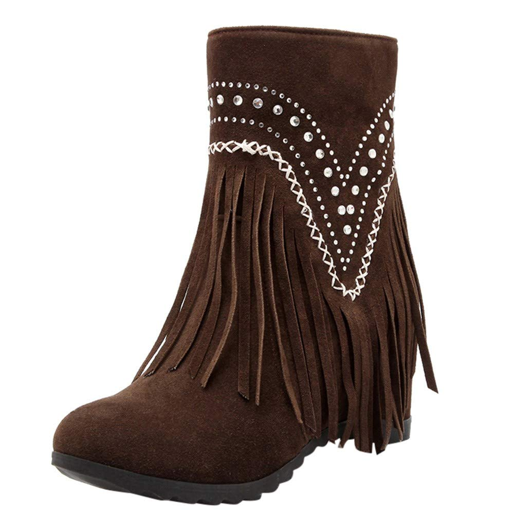 Shusuen Fringe Ankle Boot Western Cowboy Bootie Women Retro Ankle Boots Brown