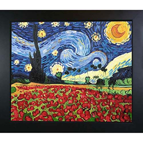 - La Pastiche VG2667-FR-137B20X24 Framed Oil Painting Starry Poppies Collage Hand Painted Original by with New Age Wood Frame