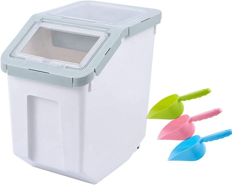 Saim Airtight Food Storage Container,Dry Food Dispenser Storage Tank,Pet Dog Cat Food Bin with Locking Lid, Measuring Cup, Scoop & Wheels, 8-10kg Capacity, Cyan, Large