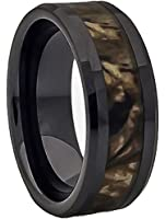 Black Ceramic Ring Camouflage Inlay
