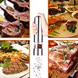 Zehui Pepper Salt Spice Grinder Mill Ideal House Electric Automatic AUTO Stainless Steel Grinder Shaker Mill with Ceramic Grinding Mechanism for Kitchen Restaurant Round Top