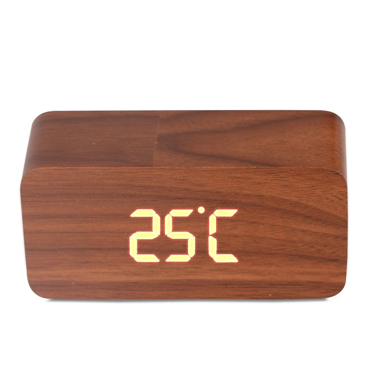 Amazon.com: Wood Cuboid Digital Clock Alarm Thermometer Temperature Function Clap On Sound Control Clock (Brown case): Home & Kitchen