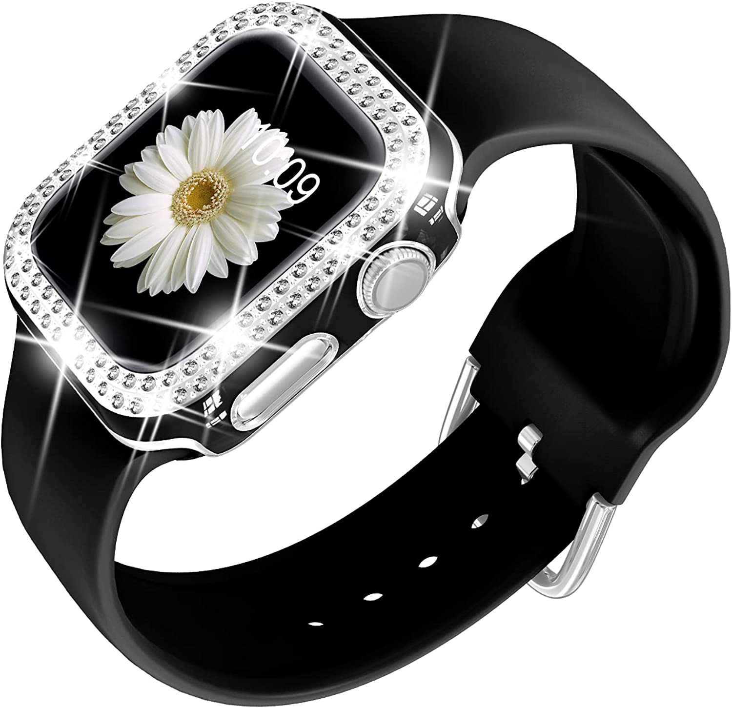 DABAOZA Compatible for Apple Watch Band with Bumper Glitter Case, Women Silicone Soft Comfortable Adjustable Strap with Silver Buckle for iWatch Series