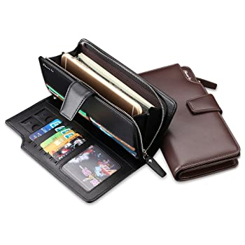Mens Wallet, Genuine Leather Wallet RFID Blocking Bifold Purse with Coin Clips