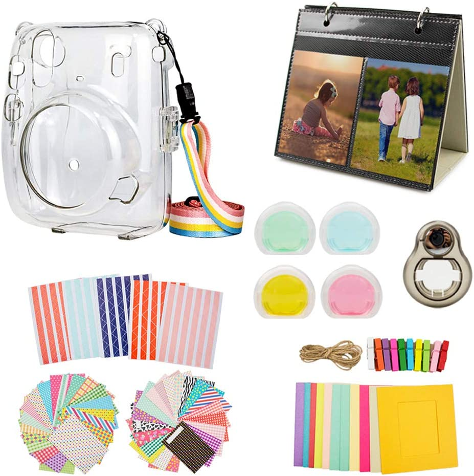 Muziri Kinokoo Mini 11 Zubehör Set Für Fujifilm Instax Mini 11 Schutzhülle Mit 8 Nützlichen Zubehör Kamerataschen 4 Farben Filterlinse Transparente Hülle Schwarzes Selfie Objektiv Elektronik