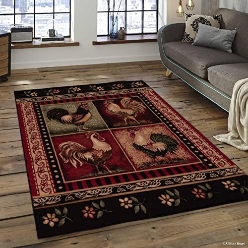 Allstar 8×11 Red and Black Cabin Rectangular Accent Rug with Ivory and Green Wildlife Rooster Design 7 6 x 10 5