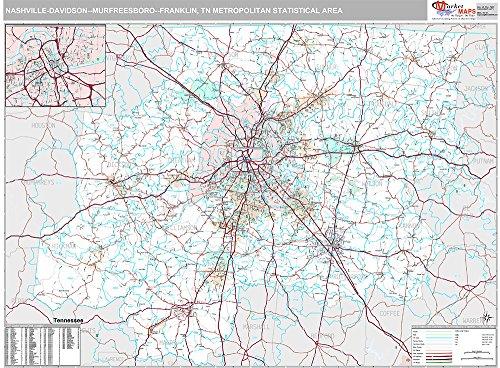Nashville-Davidson-Murfreesboro-Franklin, TN Metro Area Wall Map (Premium Style, Laminated, 48x64 - Nashville Tn Airport