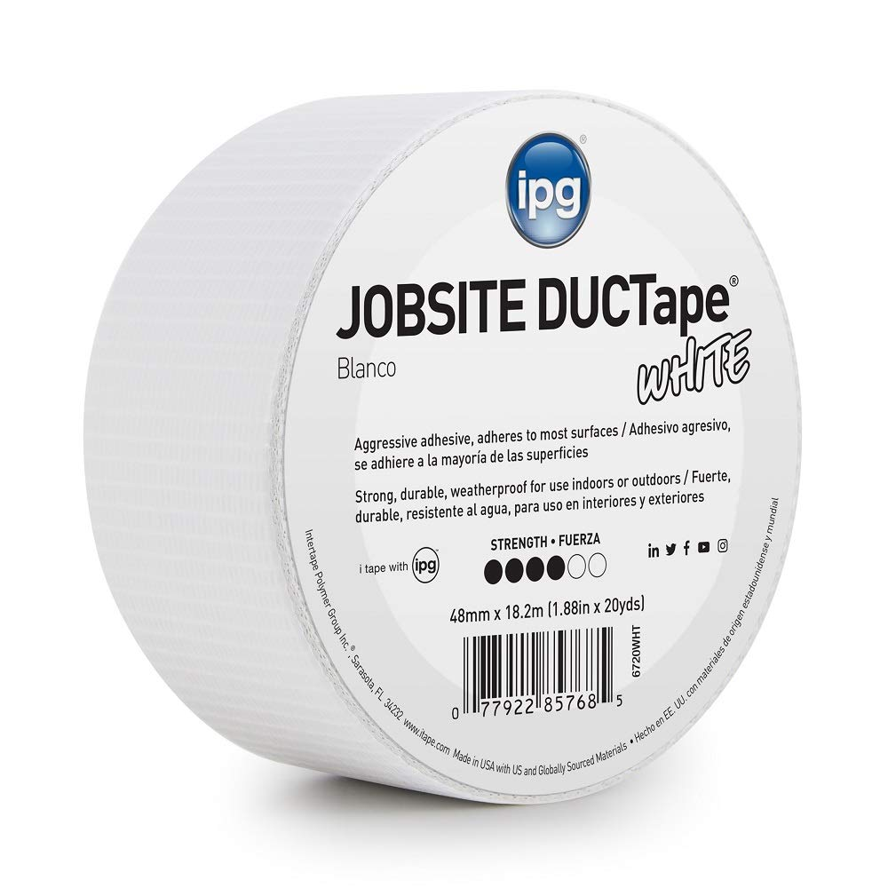 """IPG JobSite DUCTape, Colored Duct Tape, 1.88"""" x 20 yd, White(Single Roll)"""
