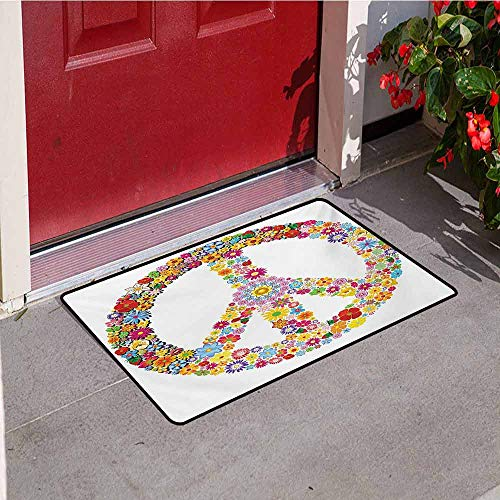 Jinguizi Groovy Universal Door mat Floral Peace Sign Summer Spring Blooms Love Happiness Themed Illustration Print Door mat Floor Decoration W23.6 x L35.4 Inch Multicolor
