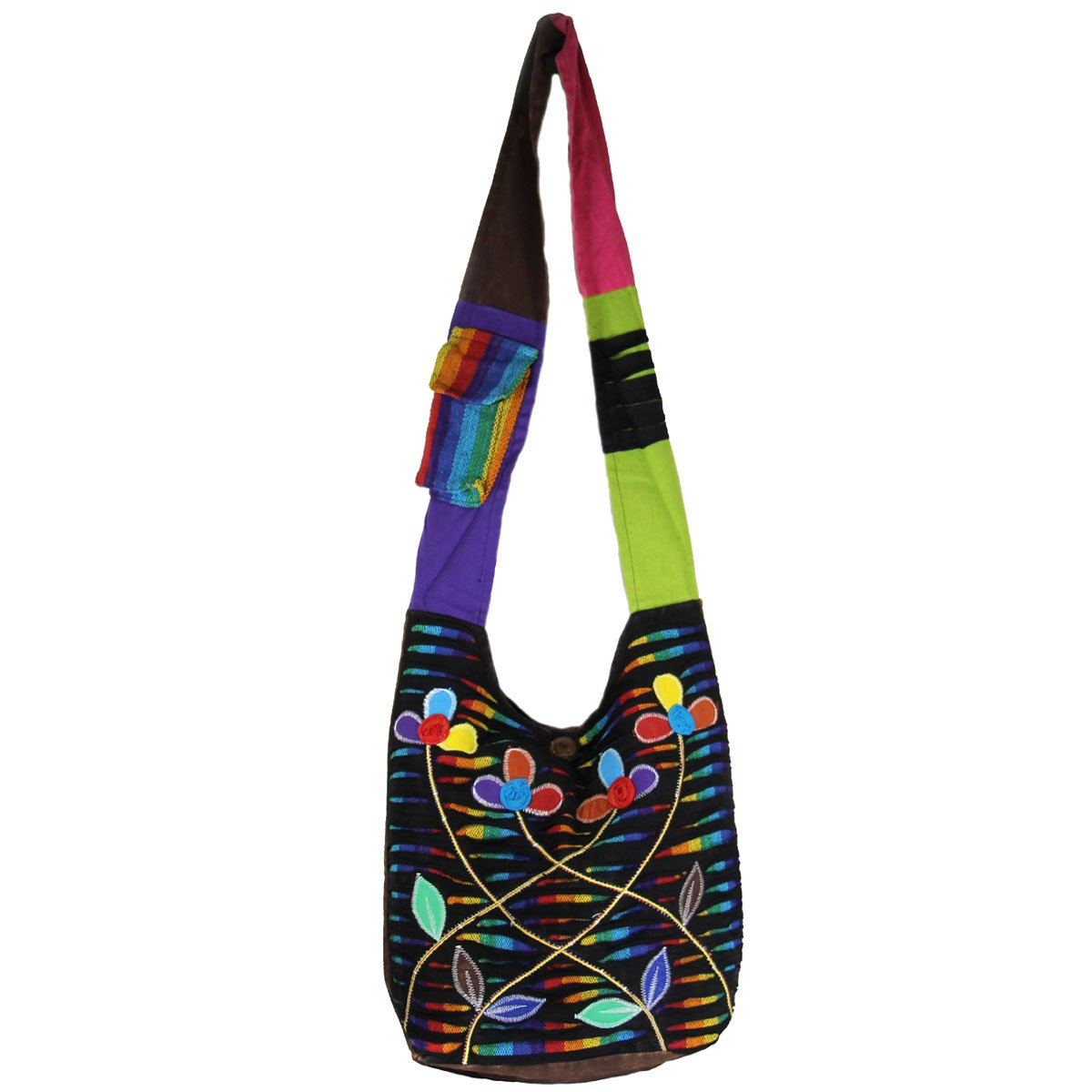 Razor Cut Cotton Handcrafted Patch Hobo Bag Multi Color
