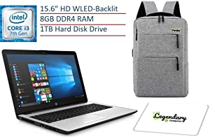 2019 HP 15.6 Inch HD Premium Business Laptop PC, Intel Dual-core i3-7100U, 8GB DDR4 RAM, 1TB HDD, USB 3.1, HDMI, WiFi, Bluetooth, Windows 10, W/ Legendary Computer Backpack & Mouse Pad Bundle