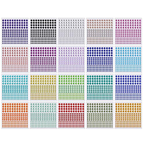 Crystal Rhinestone Stickers 20 Colors & 3 Sizes Kids DIY Embellishment Stickers Self Adhesive Jewels Sticker Colorful Gem Diamond for Face Eyes Nails Craft Cards Decorations 20 Sheets
