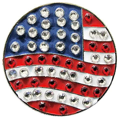 U.S. Flag Round Crystal Golf Ball Marker - ADD Some Bling to Your Game! (Some Balls)