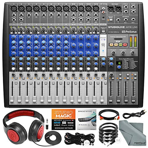 (PreSonus StudioLive AR16 USB 18-Channel Hybrid Performance and Recording Mixer with Headphones and Cables Basic Bundle)