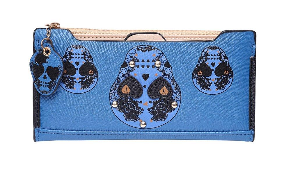 Badiya 3 Pretty Sugar Skull Wallet for Women Vintage Clutch Bag (Bifold-Blue)
