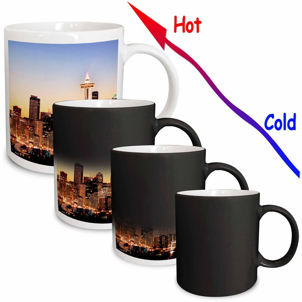 3dRose mug/_96597/_3 Seattle Skyline 11-Ounce Christmas Holiday Us48 Rdu0063 Richard Duval Magic Transforming Mug