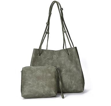 b562f670e4c2 Ladies classic PU leather Designer Plain Soft Tote Shoulder Bag Simple  Solid Color PU Pocket Shopper Bag Set for Woman 2 Pieces Set  Amazon.co.uk   Clothing
