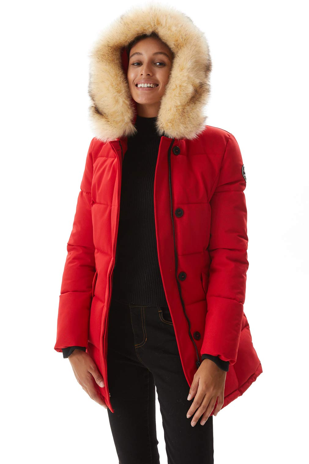 Molemsx Heavy Winter Coat for Women, Classic Club Padded Jacket Womens Warm Puffer Coat Parka Jacket with Fur Trimmed Hood Red Medium by Molemsx