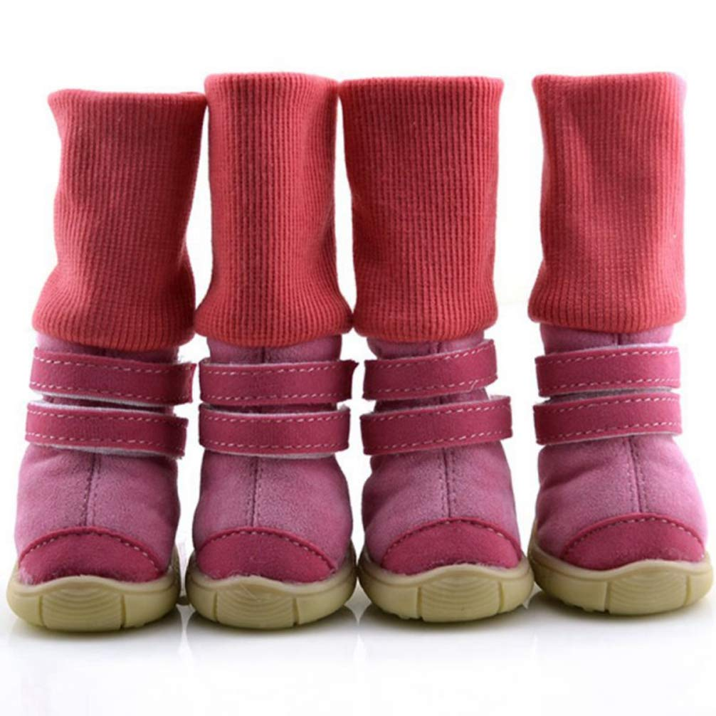 Hoxekle Winter Anti-Slip Cotton Soft Pet Shoes Leather Cashmere Waterproof Warm Booties Boots