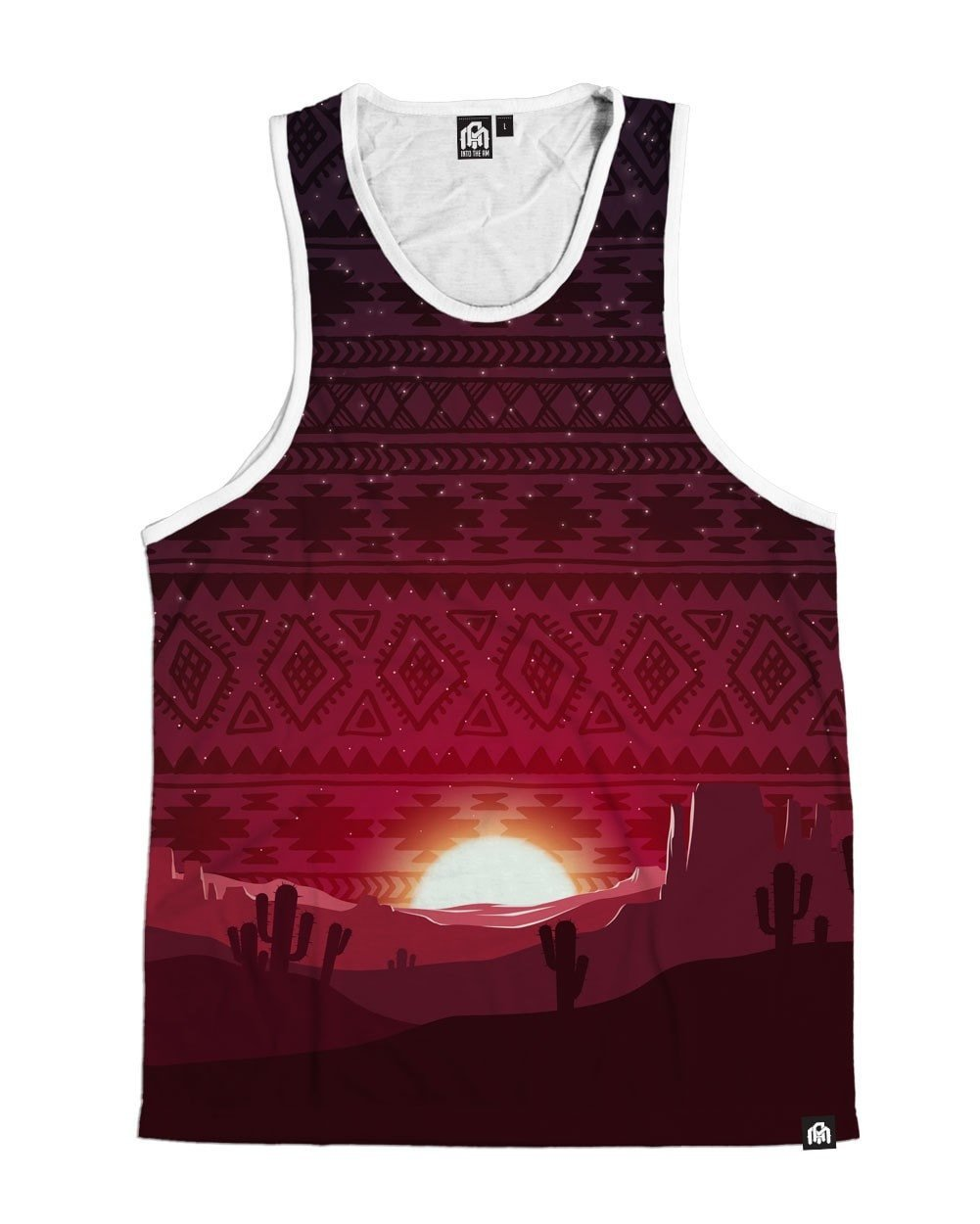 INTO THE AM Aztec Sunset Men's Sleeveless Tank Top Shirt (Medium) by INTO THE AM